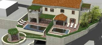 Bulding land with started construction of two semi detached houses with pools in greenery - Dubrovnik surounding