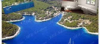 Detached luxury villa under construction in a beautiful bay on island Korčula